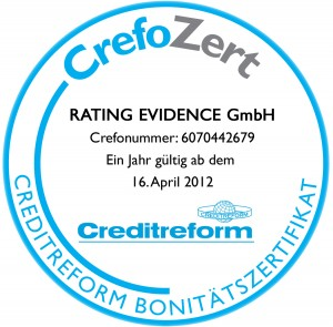 CrefoZert für RATING EVIDENCE GmbH